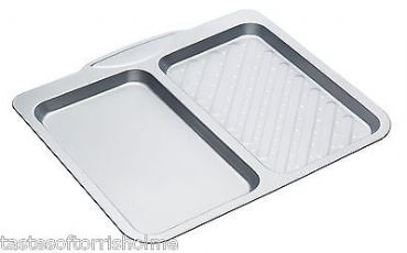 Kitchen Craft Non Stick Dual Section Perforated Fish 'n' Chips Baking Sheet